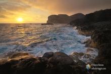 Il vulcano Capelinhos al tramonto