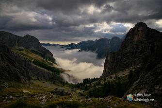 Mare di nubi sulla Valle del Preit.